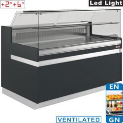 Comptoir vitrine réfrigéré EN & GN, vitre basse, ventilé, sans réserve
